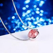 Женское колье с подвеской из серебра 100% пробы розовым камнем