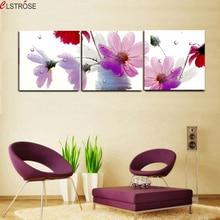 Фотография Multi flower impressionist style canvas wall art living room wall paintings 3 piece canvas wall art