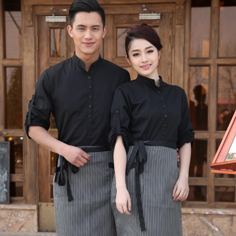 2018 Spring/Fall Hotel Work Clothing Sets Women&Men Fast Food Restaurant Waiter Uniforms Top+Apron 2pcs Western Hotel Workwear