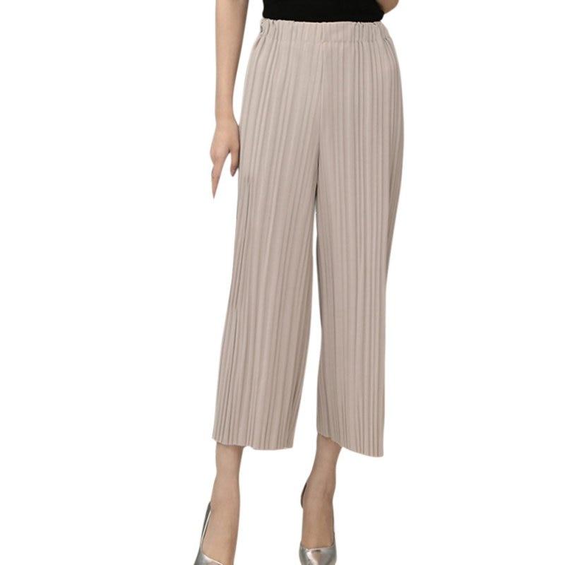 Summer   Pant   Elastic Waist Pleated   Pants   Nine   Wide     Leg     Pants   Big Swing Culottes For Women