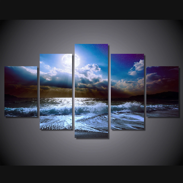 5 Pcs/Set Framed HD Printed Moon Moonlight Night Nature Picture Wall ...