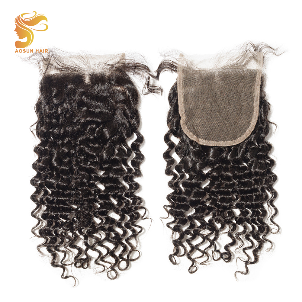AOSUN HAIR Brazilian Hair Deep Wave Closure 4*4 Natural Black Extension 8-20 inches Remy ...