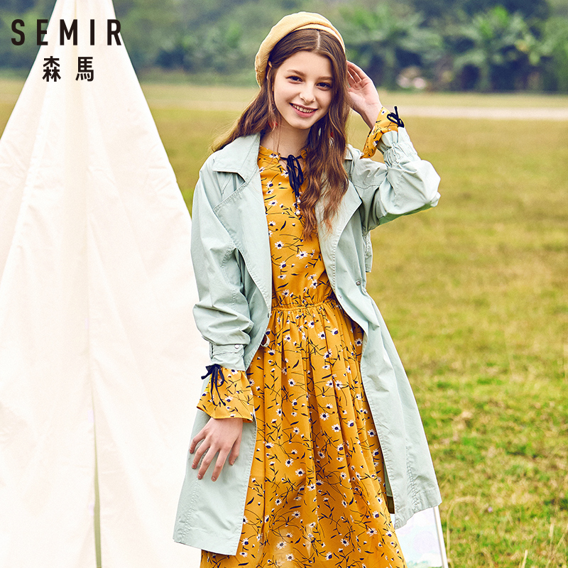 SEMIR 2018 Autumn   trench   women casual Long Section Waist Korean Wild Student Coat For Young Women Trend Clothes 4 colors