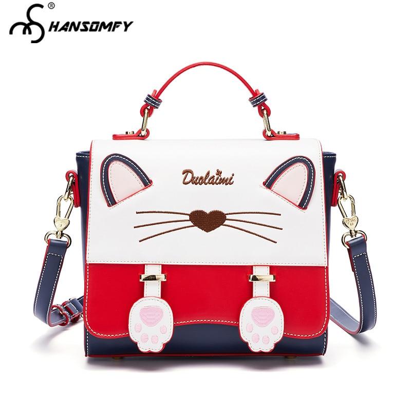 b881c22fa9a7 2018 new Women Handbags personality cat luxury fashion Leather tide wild  single Female shoulder Messenger bags cute girl bag