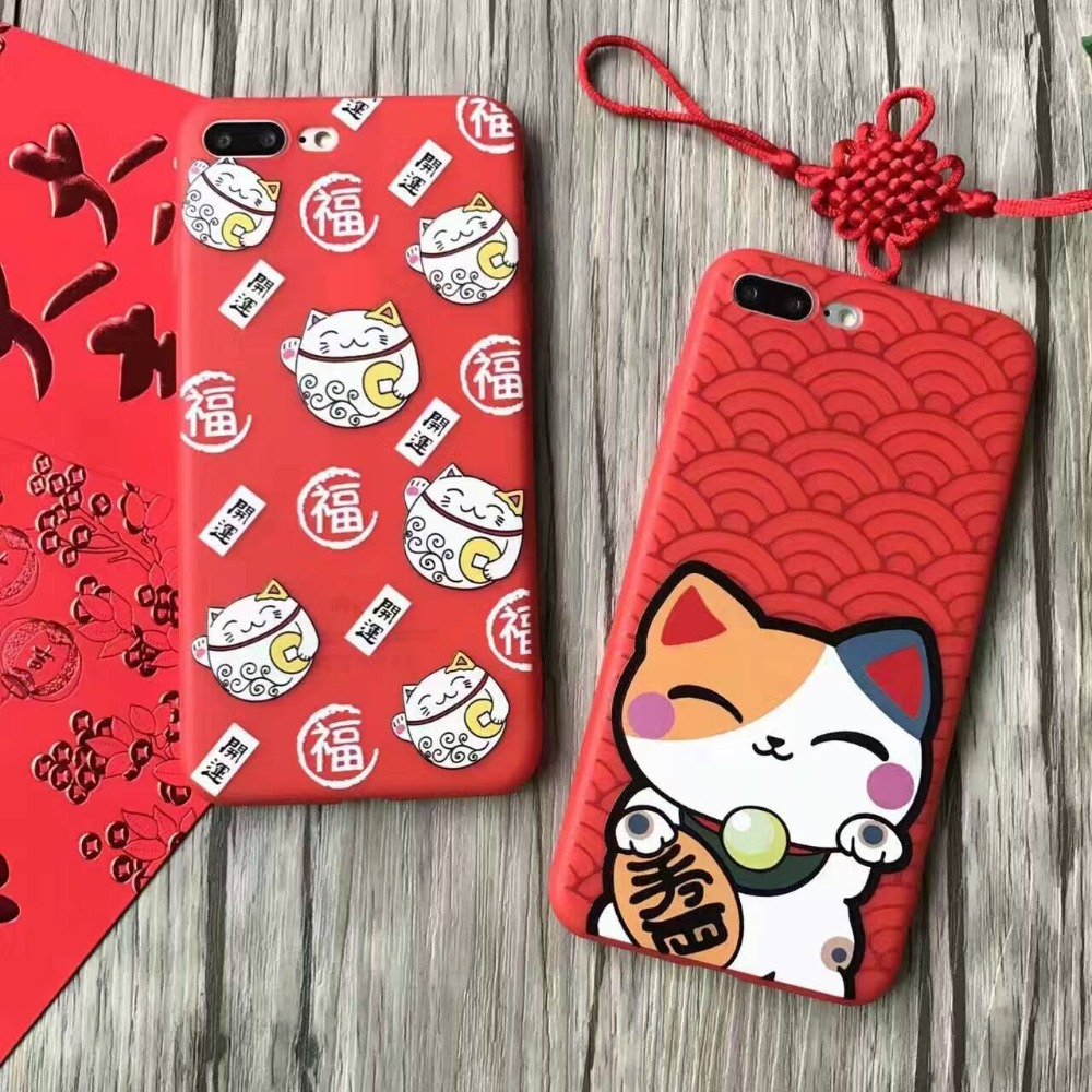 """Chinese new year Japanese Cute Cartoon Lucky Cat TPU Case for Apple iPhone 6 6S 4.7"""" 7 7plus"""