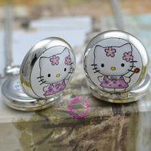 Цена покупателя хорошее качество серебряное зеркало эскиз рисунок милый кот hello kitty карманные цепи часы ожерелье
