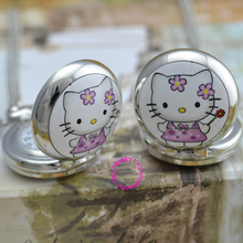 wholesale purchaser hey kitty pocket watch necklace good high quality silver mirror sketch drawing cute cat antibrittle lady reward