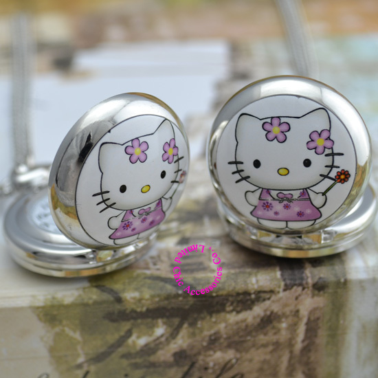 Wholesale Buyer Price Good Quality Silver Mirror Sketch Drawing Cute Cat Hello Kitty Pocket Chain Watch Necklace Antibrittle