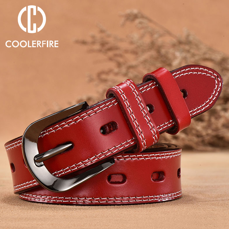 COOLERFIRE New Vintage Style Women Belts Cow Genuine Leather High Grade Quality Alloy Pin Buckle Fashion Desgin LB005