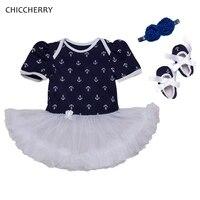 Dark Blue Anchor Print Toddler Lace Romper Sailor Baby Girl Dress Infant Lace Tutu Bow Headband