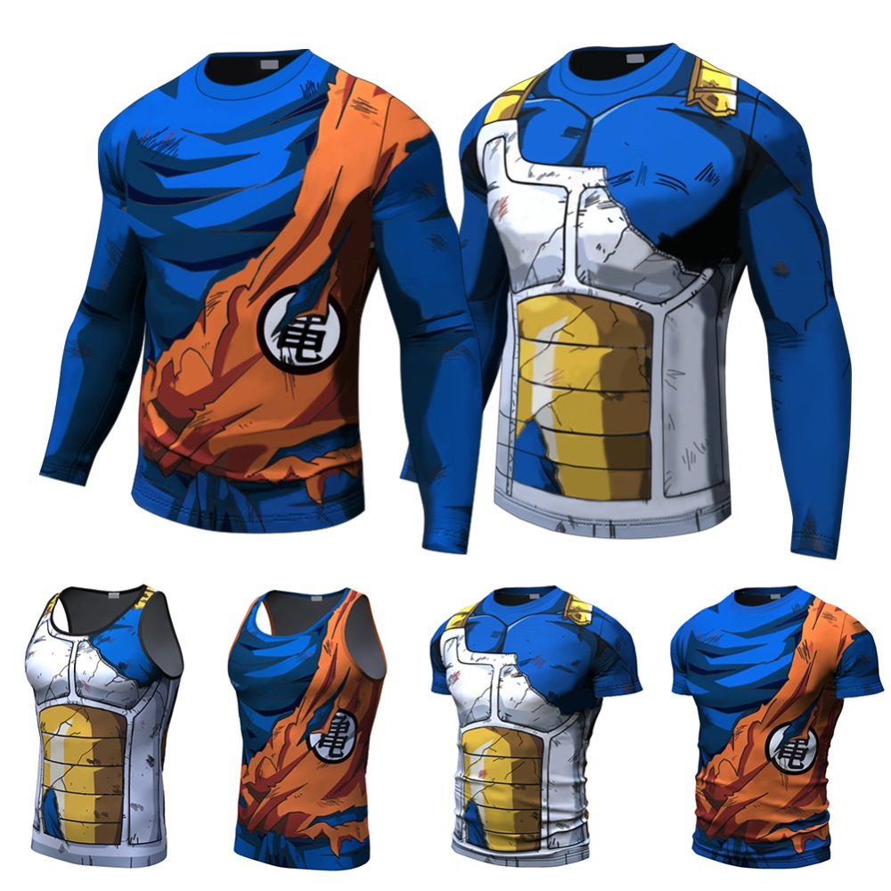2017 Ball Z Men 3D Dragon Ball Z T Shirt Vegeta Goku Summer Style Jersey 3D Tops Fashion Clothing Tees Plus