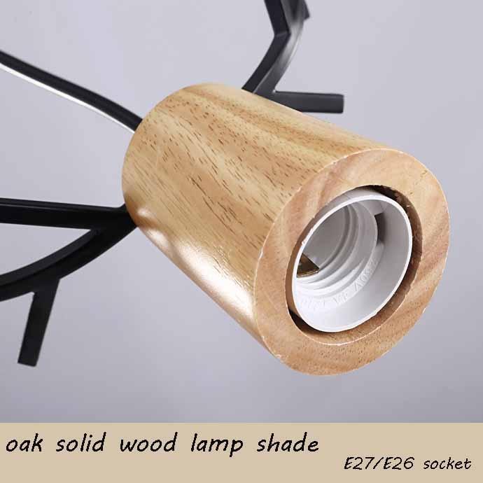 Nordic Antler Wood Pendant Lights Modern Northern American Art Decor Wrought Black Oak Pendant Lamp For Kids Dining Room Living (10)