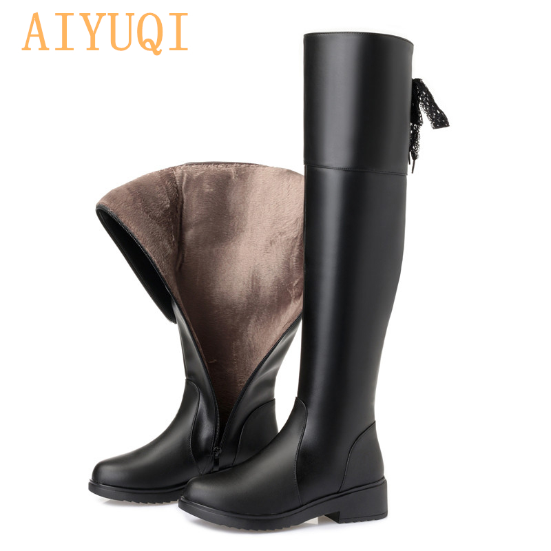 AIYUQI Women  Boots 2019 New Genuine Leather Women Thigh High Boots Fashion Over The Knee Boot Motorcycle Boots Women Shoes