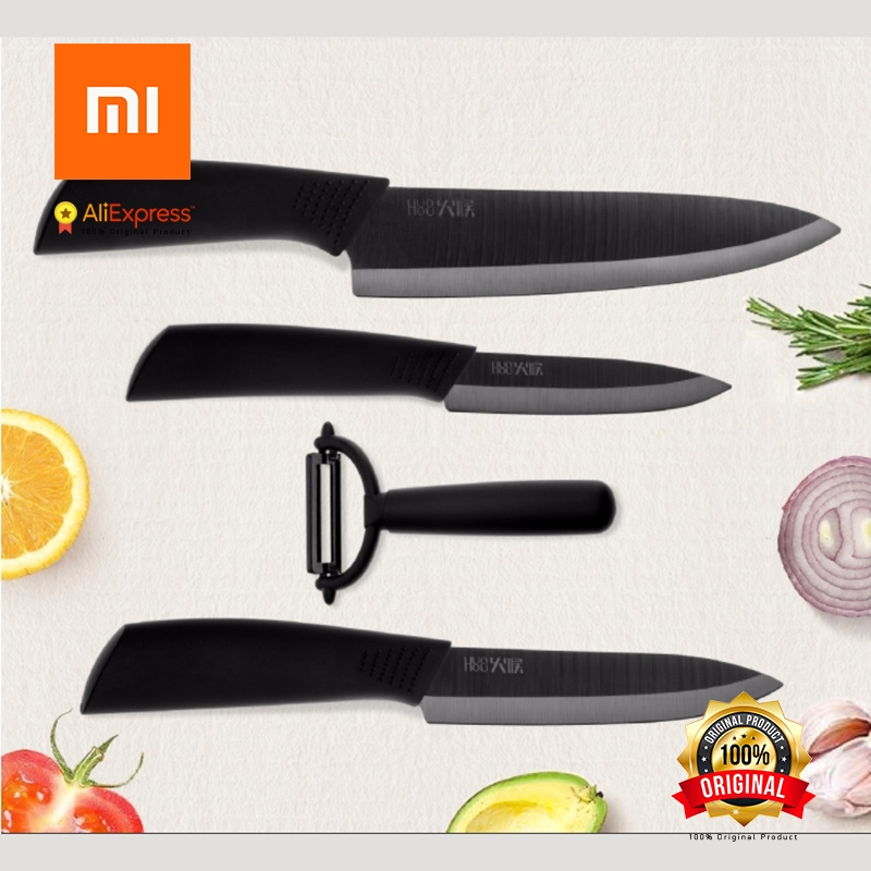 4Pcs Xiaomi Ecological Chain Brand Huohou Kitchen Knife Mijia Nano-Ceramic Knives Cook Set 4 6 8 Inch Furnace Thinner for Family black blade ceramic knife set chef s kitchen knives 4 size