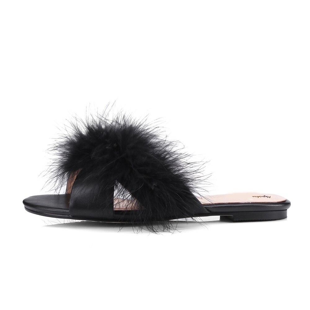 cef97c68a0eb Maguidern Fur Slides Women Ostrich Home Slippers Feathers Fluffy Sandals  Beach Shoes Summer Fashion Slippers-in Slippers from Shoes on  Aliexpress.com ...