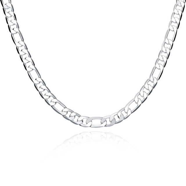 New 925 sterling silver necklace mens figaro chain 8mm choker new 925 sterling silver necklace mens figaro chain 8mm choker necklaces pendant chains 925 silver fashion aloadofball Choice Image