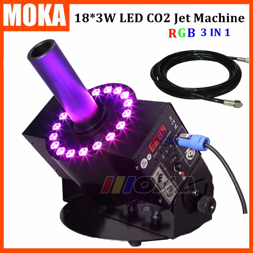 1pcs/lot 18*3w led Co2 Jet Machine DMX 512 Switchable Led Co2 Jet Fog Blast Special Effects 1 pcs12 3w led co2 jet machine dmx co2 jet led rgb led dmx 512 co2 column jet cryo fogger stage effect blast dj machine