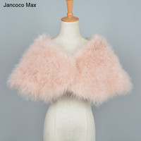 Jacoco Max Women Real Ostrich Feather Fur Shawl Fashion Style Natural Fur Shrugs Top Quality Pashmina Poncho S7232
