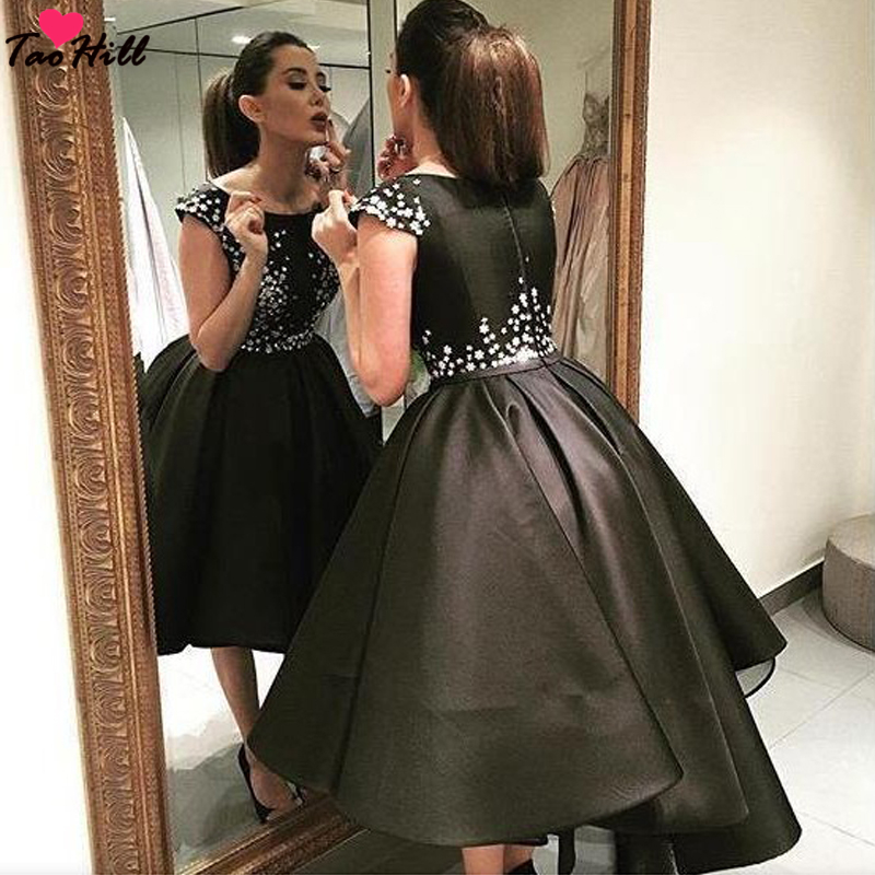 TaoHill Formal Evening Gowns Dresses A line Black Hi lo Satin Dresses with Applique Vestido De Festa