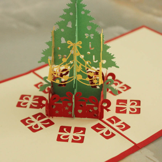 3d pop up handmade christmas happy new year greeting card