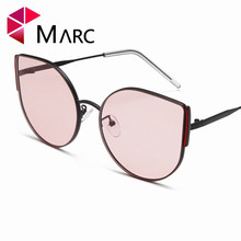 MARC Women 2019 Fashion Glasses Cat Eye Sunglass Brown Pink Trend Female Wrap Brand Design Pesonality 1