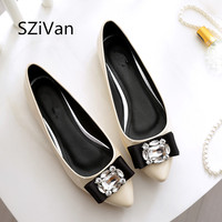 SZiVan Spring Autumn Patent Leather Bow Woman Shoes Rhinestone Pointed Flat Shoes 3 Color Large Size