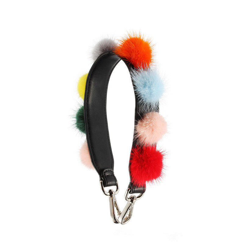 Fashion colorful RAINBOW fur strap bag handbag big Wide leather strap blet bag Accessoires Strap Crossbody Bag Handle Bands in Bag Parts Accessories from Luggage Bags