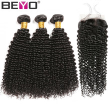 Kinky Curly Hair With Closure Human Hair 3 Bundles With Closure Non Remy Hair Bundles With Closure Cambodian Hair Extension Beyo(China)
