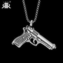 RIR Classic Jewelry Casual Sporty Gold Silver Gun Stainless Steel Pendant Jewelry For Man