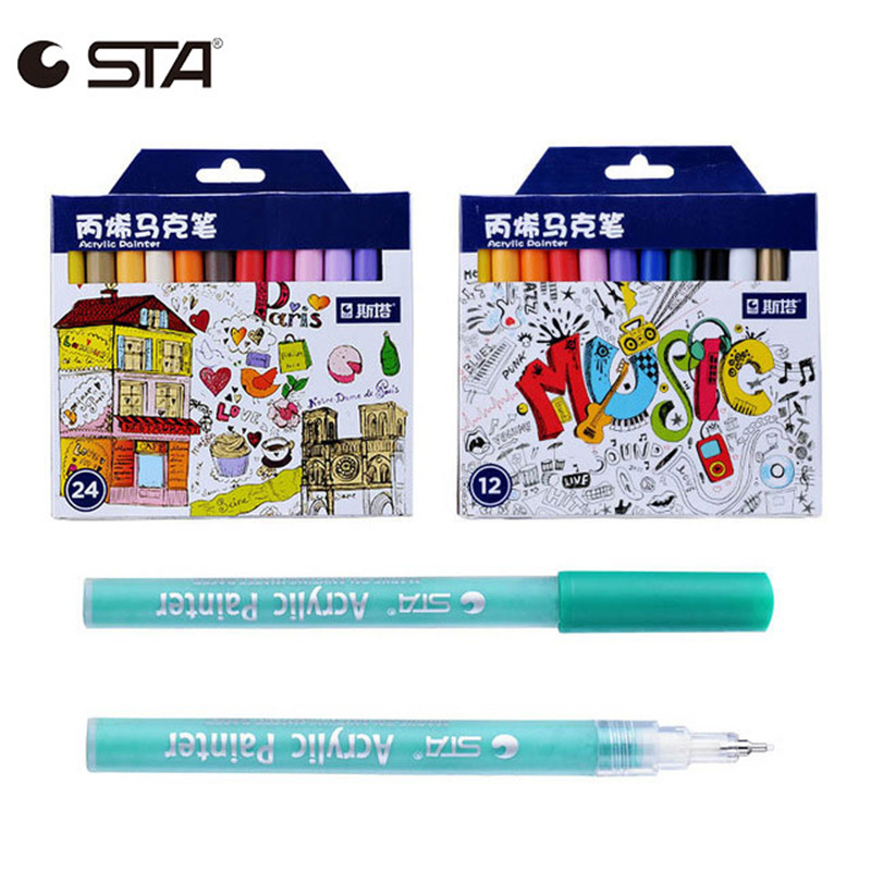STA 12/24 Colors Set Marker Pen Acrylic Painter 0.5mm Fine Needle Pen Color Art Painting Permanent Markers Artist Supplies цена