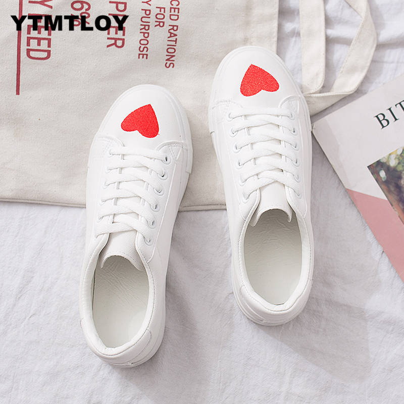 HOT New Tenis Feminino Lace-up Off White Shoes Woman Pu Leather Female Casual Women Sneakers Zapatos De Mujer Cute Zapatillas 69