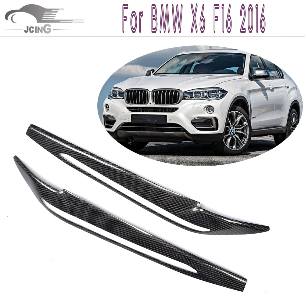 Car sticker design penang - 2pcs Set F16 Carbon Fiber Headlight Eyelids Eyebrows Covers For Bmw X6 F16 2016 Head