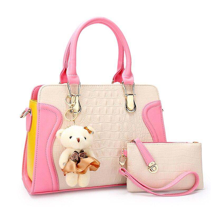 ФОТО 2PCS/set new brand crocodile pattern messenger bags for women embossed leisure handbag new pu shoulder bag girl wallet Free doll