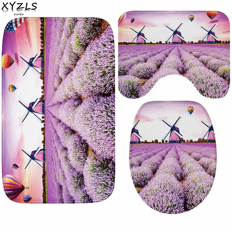 XYZLS 3pcs/set Europe Lavender Nonslip Flannel Bathroom Mats Butterfly Anti Slip Toilet Carpet Water Absorption Toilet Mats