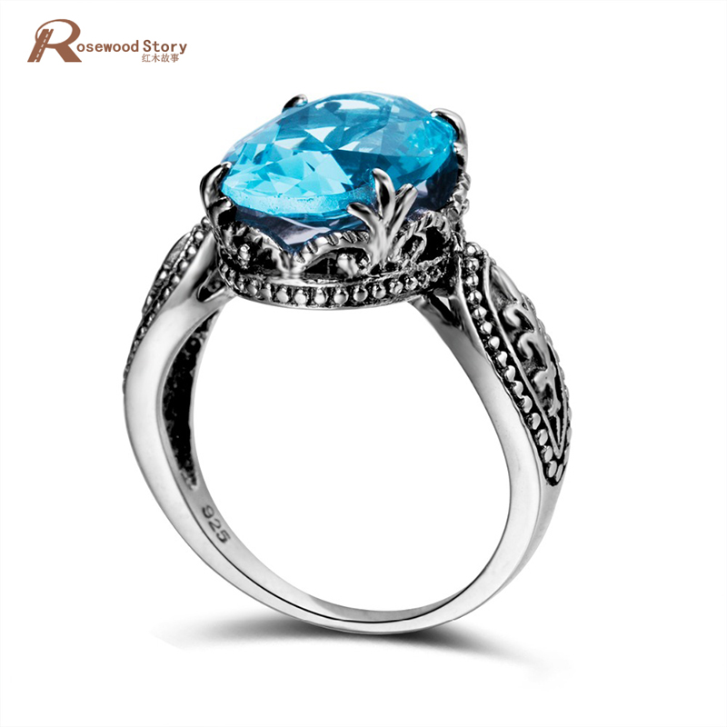 Bulgaria Moonlight Big Blue Stone Rings For Women Unique Punk Rock Real 925 Sterling Silver Engagement Ring Vintage Jewelry