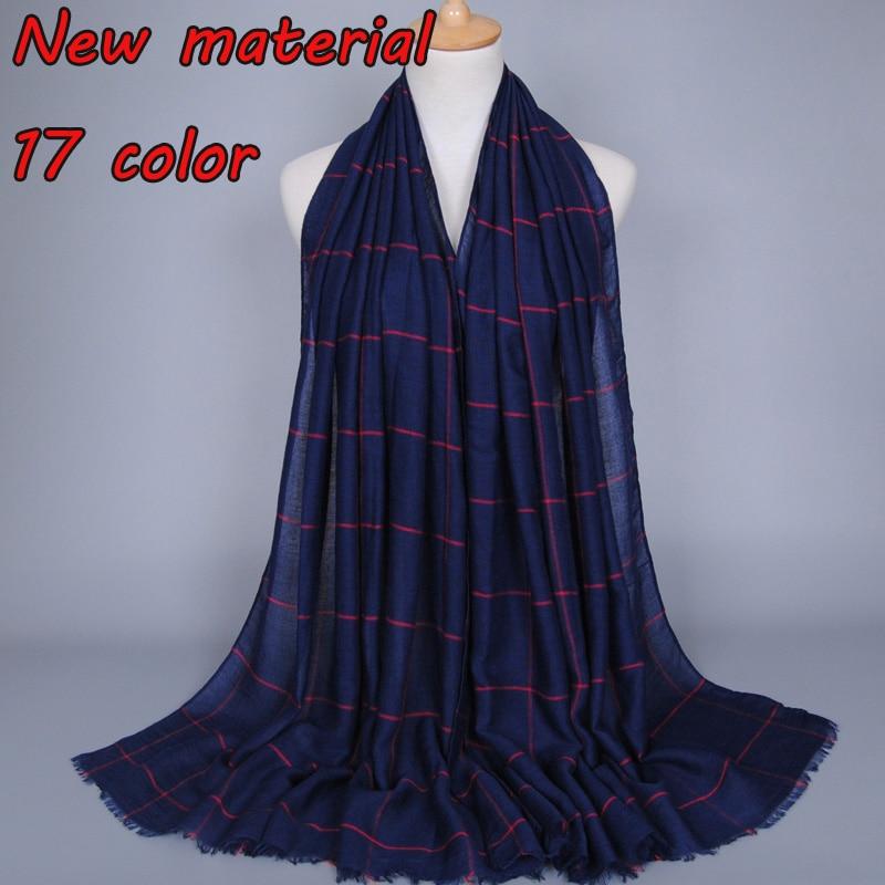 Fashion plaid scarf print stripe grid plain scarves women cotton shawl muslim hijab and wraps headscarf