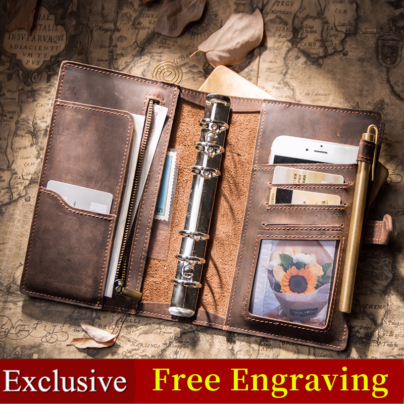 IPBEN Leather Notebook Travelers Journal Travel Planner A5 Note Book 2019 Diary Filofax Handmade Calendar Gift Postcard Stickers