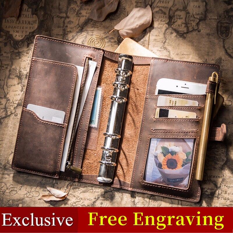 IPBEN carnet de notes en cuir pour voyageurs Journal planificateur de voyage a5 carnet de notes 2019 agenda filofax fait à la main calendrier cadeau carte postale autocollants