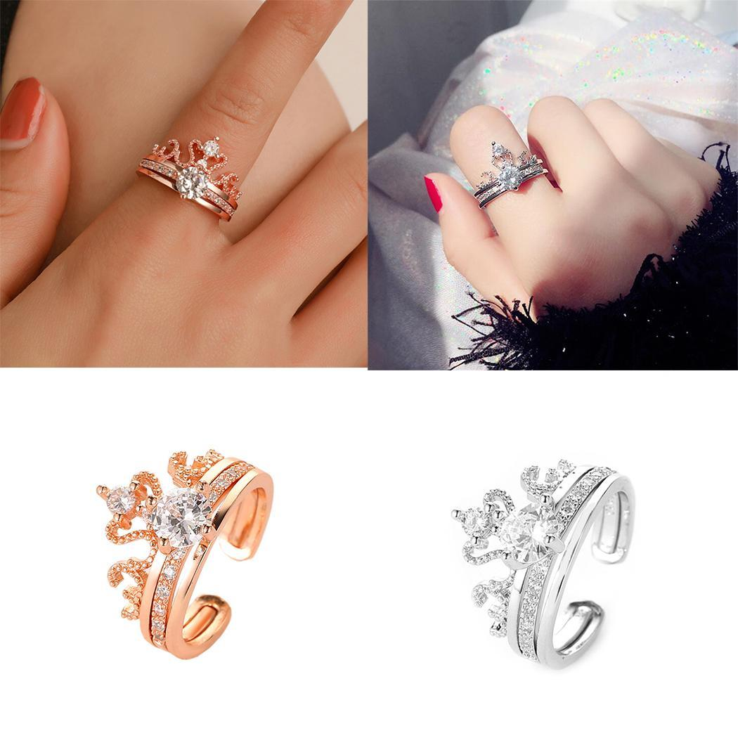 New Women Fashion Casual Adjustable Open Jewelry Artificial Gem Silver, Rose gold Charm Wedding Ring(China)