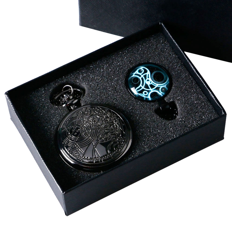 Luxury Doctor Who Design Black Quartz Pocket Watches Necklace Fashion Pendant Fob Chain Women Men Boy Gift Set + Watch Box