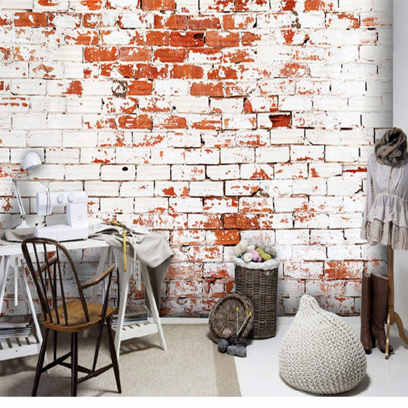 Custom Size Photo 3D retro brick wallpaper Red brick wall background wall large mural wallpaper restaurant decoration custom 3d mural 3d garden retro brick wall wallpaper green vine cement cafe restaurant bedroom living room wallpaper mural
