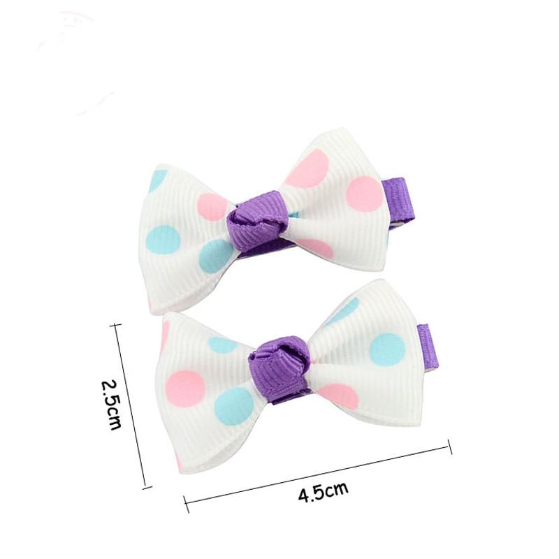 HTB1FooHPVXXXXXxapXXq6xXFXXXx Trendy Girls Candy Color Dot Flower Print Ribbon Bow Hair Clips - 7 Styles