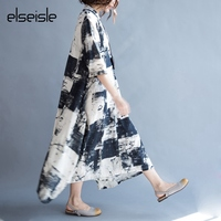 Elseisle 2017 Summer Vintage Dress Plus Size Korean Style Casual Print Linen Cotton Dress Women Vestidos