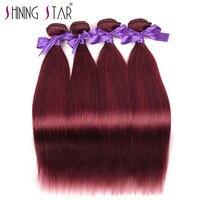 Burgundy Brazilian Straight 4 Bundles Hair Weave Extensions Bold Red 99J Human Hair Bundles Shining Star