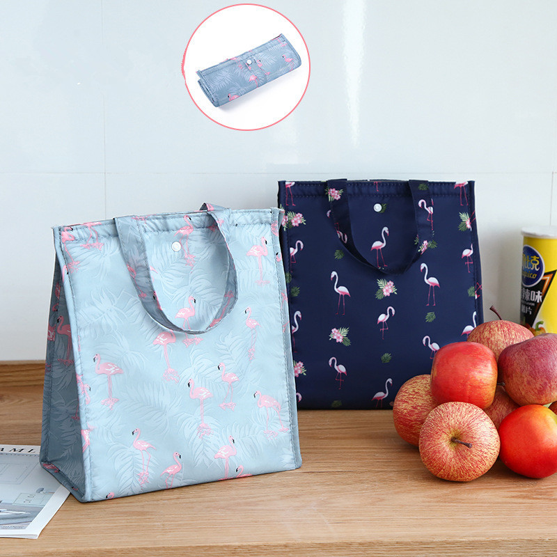 1PC New Flamingo Lunch Bag Fresh Insulation Cold Bags Thermal Oxford Lunch Bag Waterproof Convenient Leisure Bag Cute