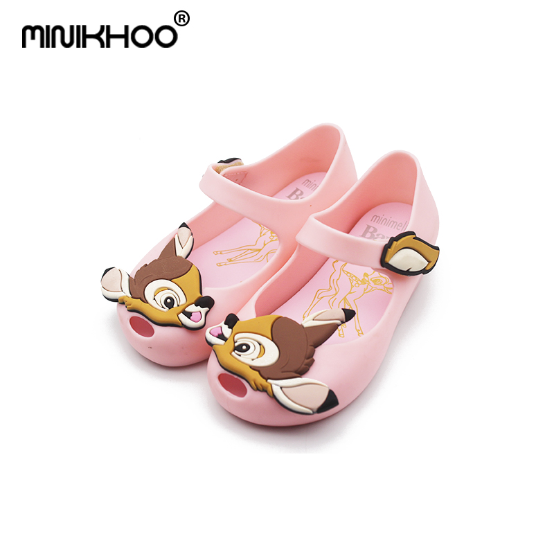 Mini Melissa 2018 New Deer Bambi Shoes Jelly Sandals For Girl Non-slip Baby Sandal Toddler Shoes Melissa Breathable 15cm-18cm