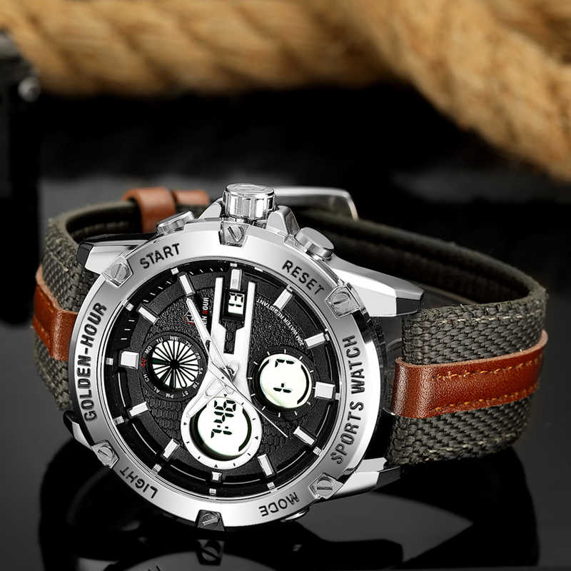 GOLDENHOUR Mens Watch To Luxury Brand Men Leather Sports Watches Men's Quartz LED Digital Clock Waterproof Military Wrist Watch