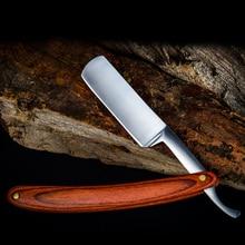 Retro Brushed Sharp straight Razor Stainless Steel Wooden Handle Folding Shaving Knife Facial Hair Eyebrow Beard