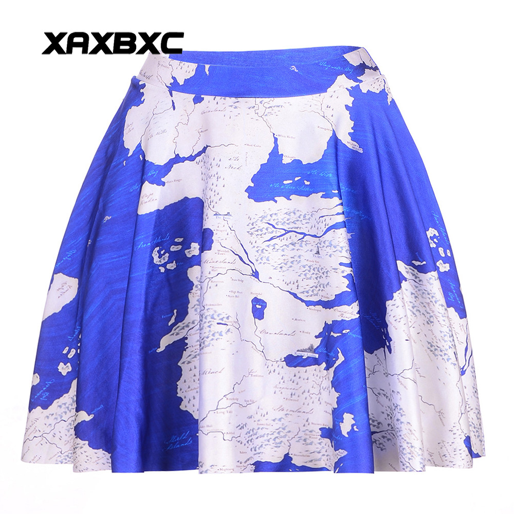NEW 1046 Summer Sexy Girl world map America Printed Cheering Squad Tutu Skater Women Mini Pleated Skirt Plus Size