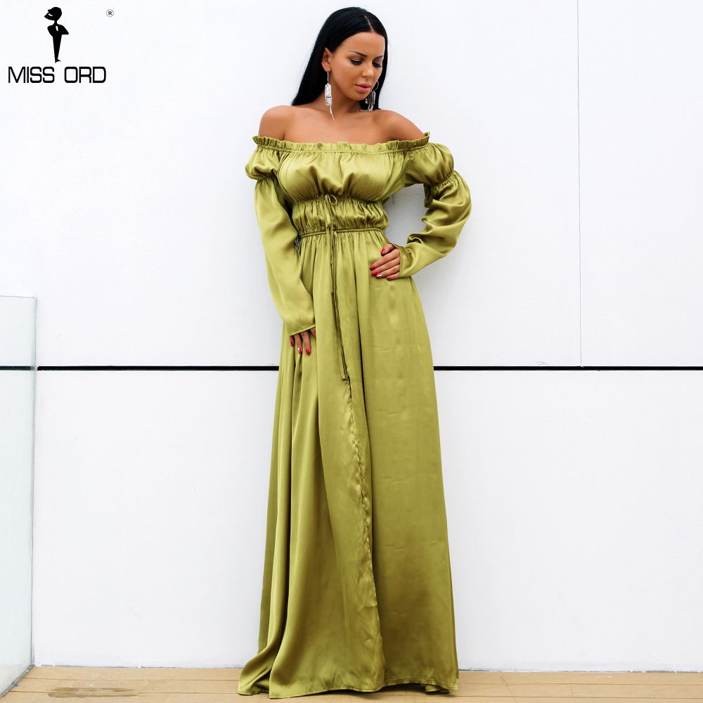 Missord 2018 Sexy one neck Off Shoulder Backless Summer Dresseshigh Split Maxi Party Dress FT18360